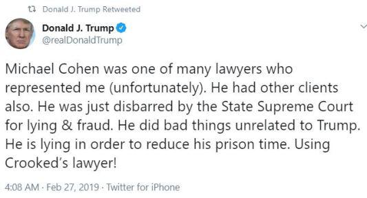 trump on cohen tweet